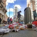 13/11/13 Madrid. Huelga de limpieza en Madrid (Gran Vía esquina Pza de Callao). Foto: Colpisa / Alberto Ferreras